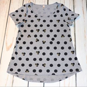 LulaRoe Disney Grey w/Black Dots Minnie Classic T